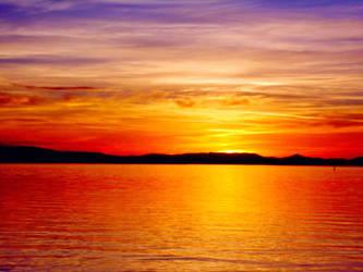 sunset in Trasimeno Lake, Umbria, Italy by Kobra91194