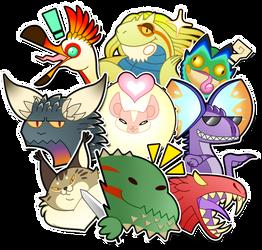 Monster Hunter sticker pack by Daiz0