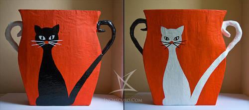 Black cat, white cat bin by MissAnnThropia