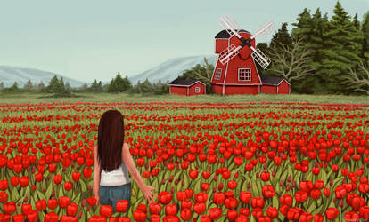 The Red Windmill by sleepyotter