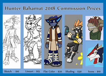 Commission Price Sheet for 2018 by hunterbahamut
