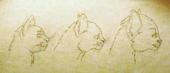 Cat evolving into Vulcan, Part 1 - sketch by rathacat