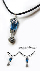 FF13 Fang Blue Crystal Necklace by michiiyuki