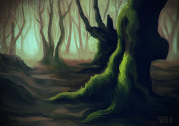 Mossy Tree by Sabeths-Reality