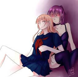 Tsubaki and Hiza by yukino-ran
