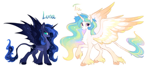 Alternate designs: Luna and Tia by hioshiru-alter