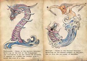 Philippine Mythology: Bakunawa (I) and Haliya (J) by binibinieyebagsToTZ
