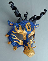 Blue-Gold Asian Dragon Mask by merimask