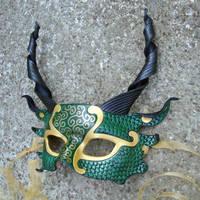 Green Dragon Half Mask by merimask