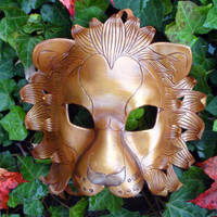 Golden Lion Leather Mask by merimask