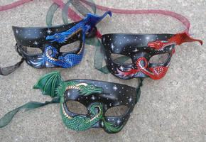 Three Leather Dragon Masks by merimask