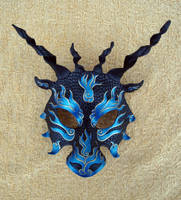 Black and Blue Asian Dragon by merimask