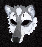Gray Wolf Leather Mask by merimask