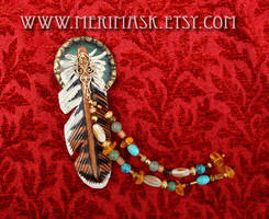 Leather Hawk Feather Clip by merimask