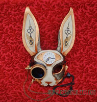Clockwork Hare Leather Mask by merimask
