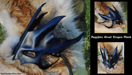 Sapphire Great Dragon Mask by Epic-Leather