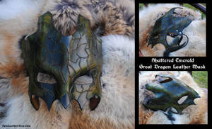 Shattered Emerald Dragon Mask by Epic-Leather