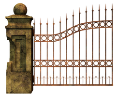 Graveyard Gate Left 2 PNG Stock by Roy3D