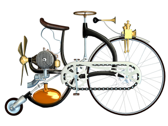 Steampunk Bike 01 PNG Stock by Roy3D