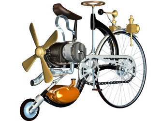 Steampunk Bike 02 PNG Stock by Roy3D