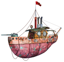 Steampunk Flying Tug Boat 01 PNG Stock by Roy3D
