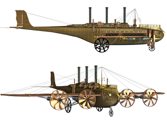 Steampunk Flying Machine 01 PNG Stock by Roy3D