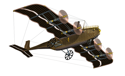 Steampunk Flying Machine 03 PNG Stock by Roy3D