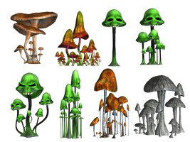 Magic Mushrooms 2 PNG Stock by Roy3D