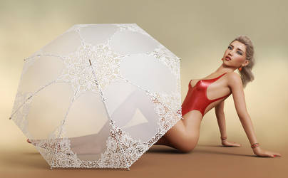 Umbrella Pinup Girl by Roy3D