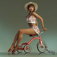 Retro Pinup On A Trike by Roy3D