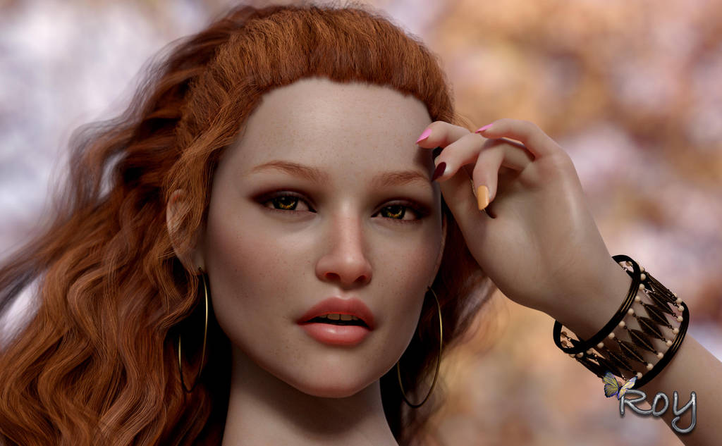 Autumn Redhead Beauty by Roy3D