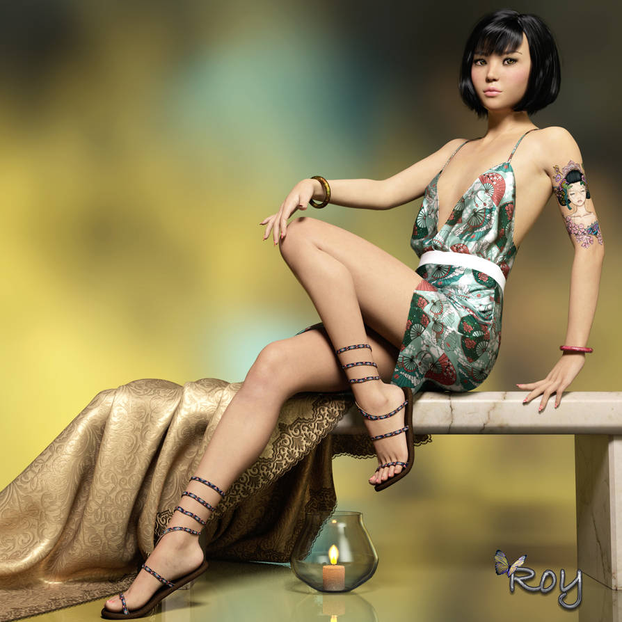 Sitting Asian Girl by Roy3D