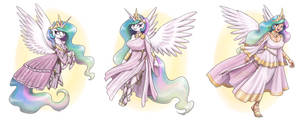 Pony, Anthro and Humanized Celestia by King-Kakapo