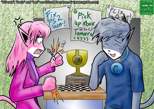 2 Cats Playing Chess .CREST. by mayuzane