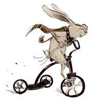 Bunny on a bike by Lelpel