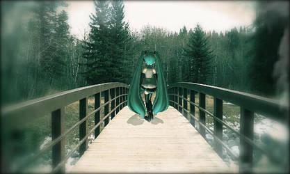 Miku on a bridge. by KrimsonGray