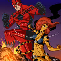 Stream - Giant Man and Tigra by SeanRM