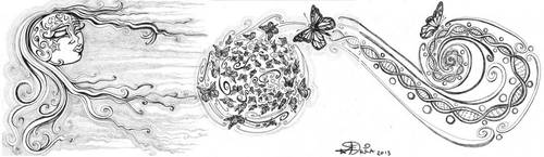 Butterfly Earth Concept Drawing by Moonsquirrel