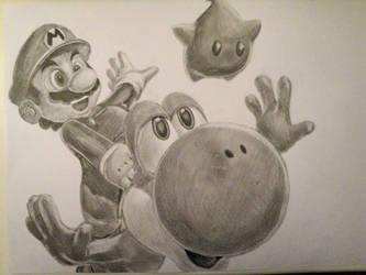 Mario and Yoshi by Fabielove