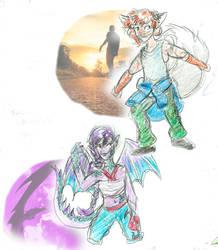 OPEN Street fox and dragon girl (DTAs) by thebadgerfoxdraws