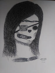 Skeletal Girl Pen Drawing by iamanimegirl12