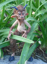 Needlefelted Polymer Clay Faun by oddfae