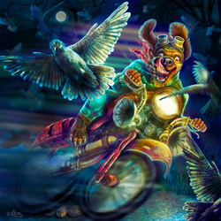 Mad Dog Rider-Digital Painting by DagmarReneeRITTER
