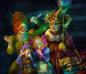 Scary Clowns Family Portrait (Digital Painting) by DagmarReneeRITTER