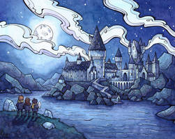 Hogwarts at Night - Commission by CorinneRoberts