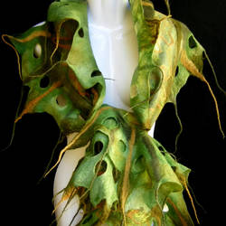 Hand Felted Scarf Moss Olive Green Woodland Fairy by silkshop