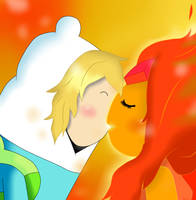Finn and Flame Princess kiss! by AndiScissorhands