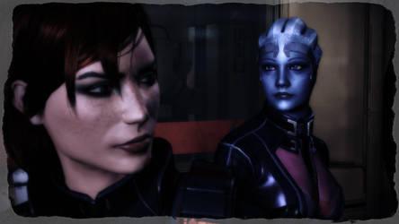 Femshep and Liara by Lezya
