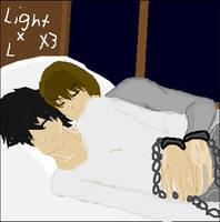 how Light and L sleep...... by titanicfreak1912