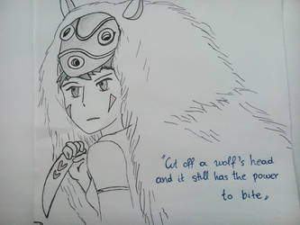 Princess Mononoke - The wolf's head by foxmarina